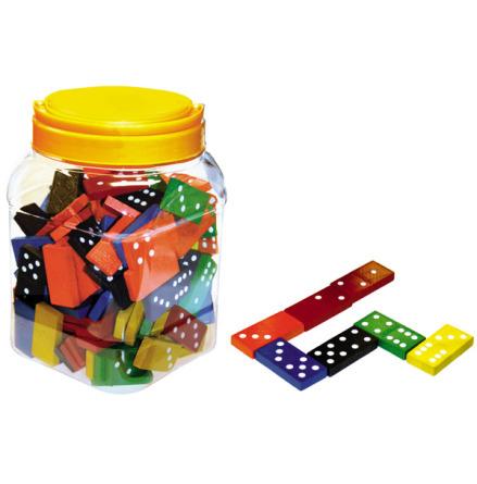 Dominos i trä 168 brickor i plastburk - 7763-477-5